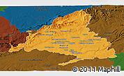 Political Panoramic Map of Madrid, darken
