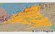 Political Panoramic Map of Madrid, semi-desaturated