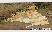 Satellite Panoramic Map of Madrid, darken