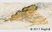 Satellite Panoramic Map of Madrid, lighten