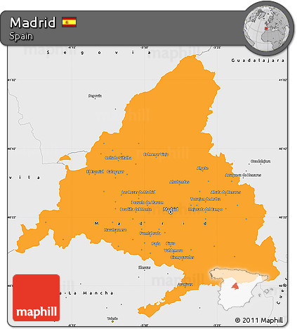 Free Political Simple Map of Madrid, single color outside, borders ...
