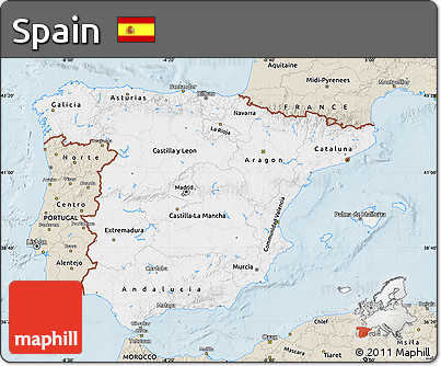 Classic Style Map of Spain