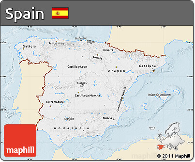 Classic Style Map of Spain, single color outside