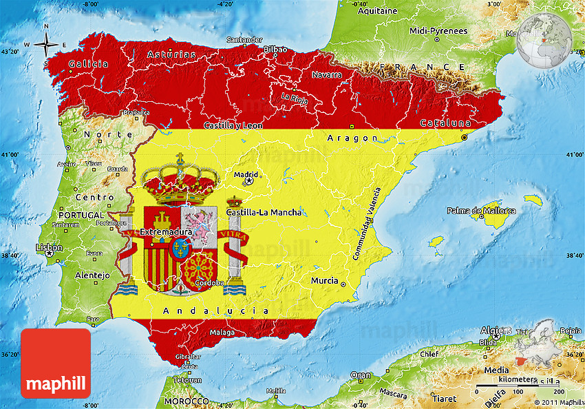 Flag Map of Spain, physical outside