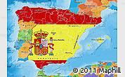 Flag Map of Spain, political outside