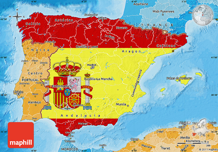 Flag Map of Spain political shades outside
