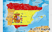 Flag Map of Spain, political shades outside