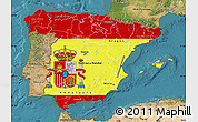 Flag Map of Spain, satellite outside