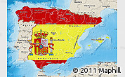 Flag Map of Spain, shaded relief outside