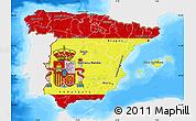 Flag Map of Spain, single color outside, bathymetry sea