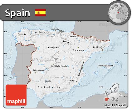 Gray Map of Spain, single color outside