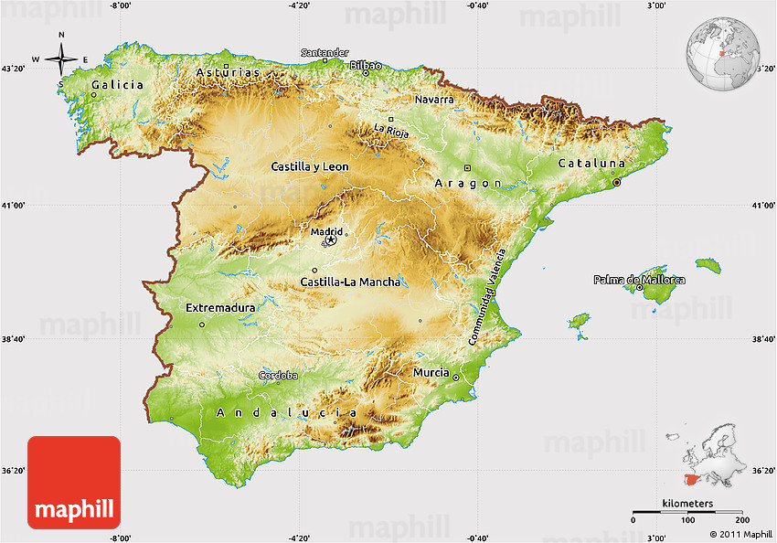 Physical Map of Spain cropped outside