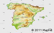 Physical Map of Spain, cropped outside
