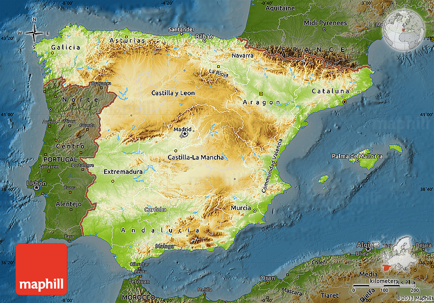 Physical Map of Spain, darken