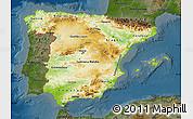 Physical Map of Spain, darken
