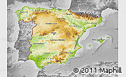 Physical Map of Spain, desaturated