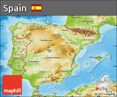 free physical map of spain
