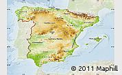 Physical Map of Spain, lighten