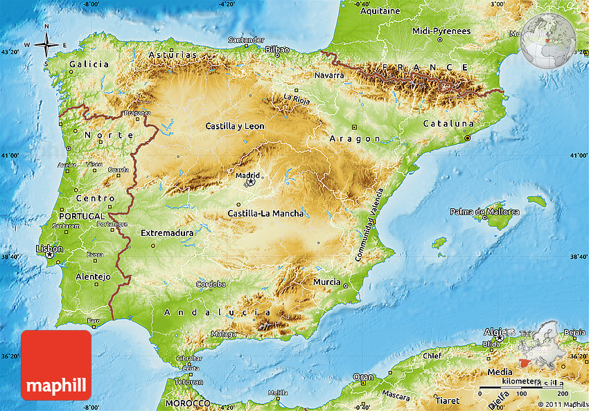 Map Of The Spain.Physical Map Of Spain