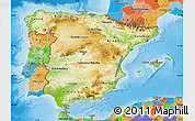 Physical Map of Spain, political outside, shaded relief sea