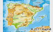 Physical Map of Spain, political shades outside, shaded relief sea