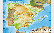 Physical Map of Spain, satellite outside, shaded relief sea