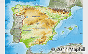Physical Map of Spain, semi-desaturated, land only
