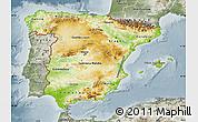Physical Map of Spain, semi-desaturated