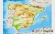 Physical Map of Spain, shaded relief outside