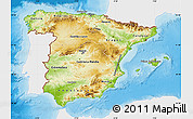 Physical Map of Spain, single color outside