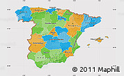 Political Map of Spain, cropped outside