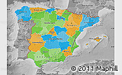 Political Map of Spain, desaturated