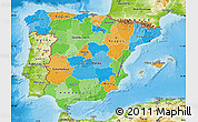 Political Map of Spain, physical outside