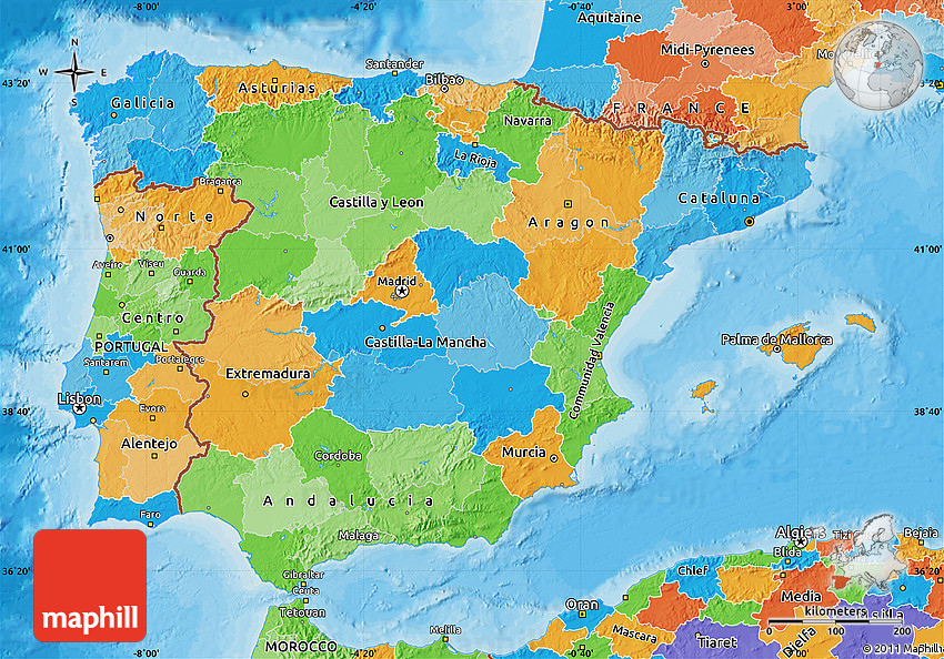 Political Map Of Spain - Spain political map