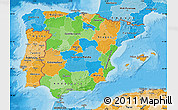 Political Map of Spain, political shades outside