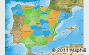Political Map of Spain, satellite outside, bathymetry sea