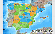 Political Map of Spain, semi-desaturated, land only
