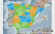 Political Map of Spain, semi-desaturated