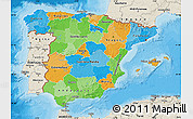 Political Map of Spain, shaded relief outside, bathymetry sea