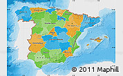 Political Map of Spain, single color outside