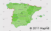Political Shades Map of Spain, cropped outside