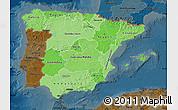 Political Shades Map of Spain, darken