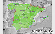Political Shades Map of Spain, desaturated