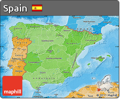 Political Shades Map of Spain