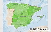 Political Shades Map of Spain, lighten