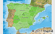 Political Shades Map of Spain, satellite outside, bathymetry sea
