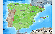 Political Shades Map of Spain, semi-desaturated, land only