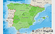 Political Shades Map of Spain, shaded relief outside, bathymetry sea
