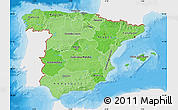 Political Shades Map of Spain, single color outside
