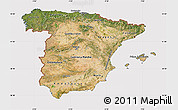 Satellite Map of Spain, cropped outside